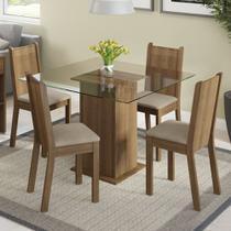 Conjunto de Mesa Madeira com 4 Cadeiras Estofadas Madesa Dallas -