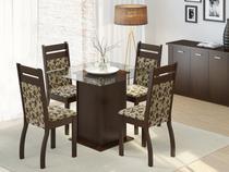 Conjunto de Mesa Madeira com 4 Cadeiras Estofadas - Madesa Sofia