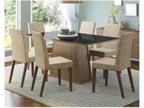 Conjunto de Mesa Madeira com 6 Cadeiras Estofadas - Madesa Viena