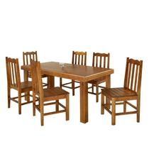 Conjunto de Mesa Madeira Maciça com 6 Cadeiras Essência - Mel - Prime