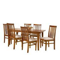 Conjunto de Mesa Madeira Maciça com 6 Cadeiras União - Mel - Prime