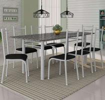 Conjunto de Mesa Madrid 2m com 8 cadeiras Lisboa Branco acento Preto Liso Fabone -