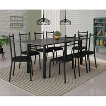 Conjunto de Mesa Madrid 2m com 8 cadeiras Lisboa Preto com  Preto Fabone -