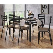 Conjunto De Mesa Malva 140cm Preta Com 06 Cadeiras 118 Rattan - Artefamol