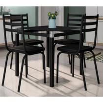 Conjunto De Mesa Malva 75 cm Vidro Preto E 4 Cadeiras 118 Preto Artefamol -
