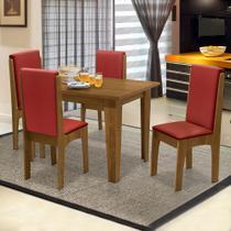 Conjunto de Mesa Miami 1,20m com 4 Cadeiras Mel / Vermelho - Dobuê