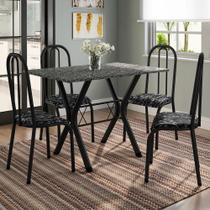 Conjunto de Mesa Miami com 4 Cadeiras Madri Preto Fosco com Tecido Preto Floral - Fabone