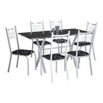 Conjunto de Mesa Miami Com 6 Cadeiras Lisboa Branco Liso E Preto Floral - Fabone