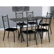 Conjunto de Mesa Miami Com 6 Cadeiras Lisboa Preto - Fabone