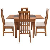 Conjunto de Mesa Mix Extensível 1,35m Imbuia Vidro Preto 4 Cadeiras Tina Bege - Tula Moveis