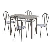 Conjunto de Mesa Monique com 4 Cadeiras Craqueado Preto Capitonê - Artefamol