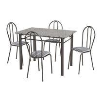 Conjunto de Mesa Monique com 4 Cadeiras Craqueado Preto Listrado - Artefamol