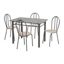 Conjunto de Mesa Monique com 4 Cadeiras Craqueado Preto Rattan - Artefamol