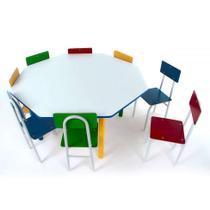 Conjunto de Mesa Oitavada com 8 Cadeiras Umbridge Colorido - Carlu Brinquedos