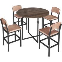 Conjunto de Mesa Oval para Sala de Jantar com 4 Banquetas 1955-Brastubo -