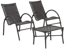 Conjunto de Mesa para Área Externa Ferro - com 2 Cadeiras Famais Elo