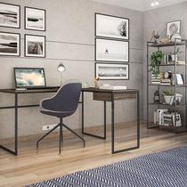 Conjunto de Mesa para Computador Érica e 1 Estante com 5 Prateleiras -Brastubo -