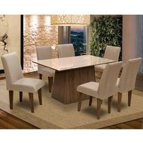 Conjunto de Mesa Para Sala de Jantar C/ Tampo de Vidro e 6 CadeirasFlorença  Dobuê