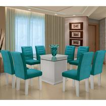 Conjunto de Mesa Para Sala de Jantar C/ Tampo de Vidro e 8 Cadeiras Vegas - Dobuê