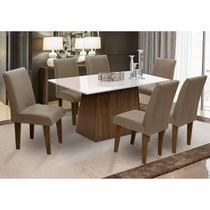 Conjunto de Mesa para Sala de Jantar com 6 Cadeira Florença Fit - Dobue -
