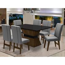 Conjunto de Mesa para Sala de Jantar com 6 Cadeira Monaco-Dobue -