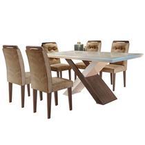 Conjunto de Mesa para Sala de Jantar com 6 Cadeiras Doris -Rufato -