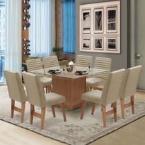 Conjunto de Mesa para Sala de Jantar com 8 Cadeiras Tampo de Vidro Onix Cedro / Areia - Dobuê
