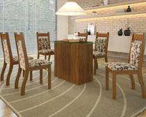 Conjunto De Mesa Para Sala De Jantar Emilia Com Vidro 6 Cadeiras Jady - At house
