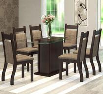 Conjunto De Mesa Para Sala De Jantar Lumia Com Vidro 6 Cadeiras - At house