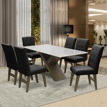 Conjunto De Mesa Para Sala de Jantar Off White Dubai 1,60m MDF com 6 Cadeiras Castanho / Preto - Dobuê