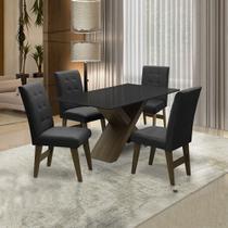 Conjunto De Mesa Para Sala de Jantar Preto Dubai 1,35m MDF com 4 Cadeiras Castanho / Preto - Dobuê