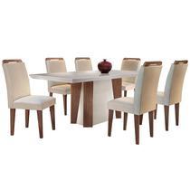 Conjunto de Mesa para Sala de Jantar Retangular com 6 Cadeiras Helena/Athenas-Rufato -