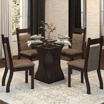 Conjunto De Mesa Para Sala De Jantar Sevilha Com Vidro 4 Cadeiras - At house