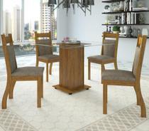 Conjunto De Mesa Para Sala De Jantar Sharon Com Vidro 4 Cadeiras - At house