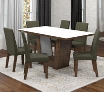 Conjunto De Mesa Para Sala De Jantar Valentina Com Vidro Branco 6 Cadeiras Ebano/Camurça - At house