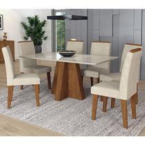 Conjunto de Mesa Patricia 1,60cm para Sala de Jantar com 6 Cadeiras Milena com Moldura-Cimol -
