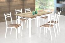 Conjunto de Mesa Plaza 1,36 m Branca com 6 Cadeiras - Ciplafe
