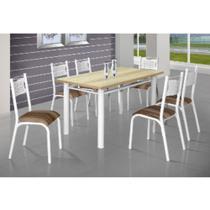 Conjunto de mesa poeme com 06 cadeiras carvalho montreal ciplafe -