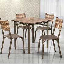 Conjunto de Mesa Quadrada Tampo de Madeira 4 Cadeiras França BM Móveis Tubulares -