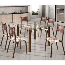 Conjunto de Mesa Quadrada Tampo de Vidro 6 Cadeiras França BM Móveis Tubulares Ouro Velho/Jacquard Argila/Belize -