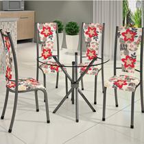 Conjunto de Mesa Redonda Tampo de Vidro 4 Cadeiras Dubai BM Móveis Tubulares -
