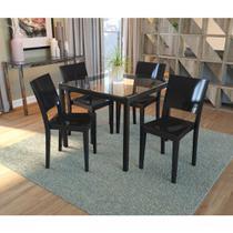 Conjunto de Mesa Remo com 4 cadeiras Polipropileno - Preto - Kappesberg
