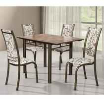 Conjunto de Mesa Retangular Tampo de Madeira 4 Cadeiras Dubai BM Móveis Tubulares -