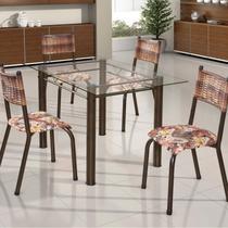 Conjunto de Mesa Retangular Tampo de Vidro 4 Cadeiras França BM Móveis Tubulares -