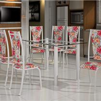Conjunto de Mesa Retangular Tampo de Vidro 6 Cadeiras Dubai BM Móveis Tubulares -