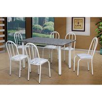 Conjunto de Mesa Sara com 6 Cadeiras Branca Linho - Artefamol