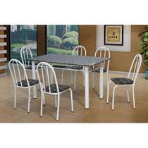 Conjunto de Mesa Sara com 6 Cadeiras Branca Preto Flor - Artefamol