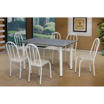 Conjunto de Mesa Sara com 6 Cadeiras Branca Rattan - Artefamol