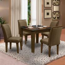 Conjunto de Mesa Siena 0,90m Castanho com 4 Cadeiras Florença Lx Preto / Cacau - Dobuê