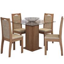 Conjunto de Mesa Sophia 100cm com 4 Cadeiras Livia Cimol Savana/Suede Marfim - Cimol moveis